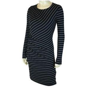Banana Republic Dress S Black White Stripe Stretch